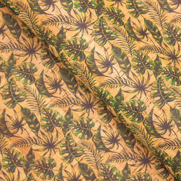 Green plantain leaves pattern cork leather fabric COF-259