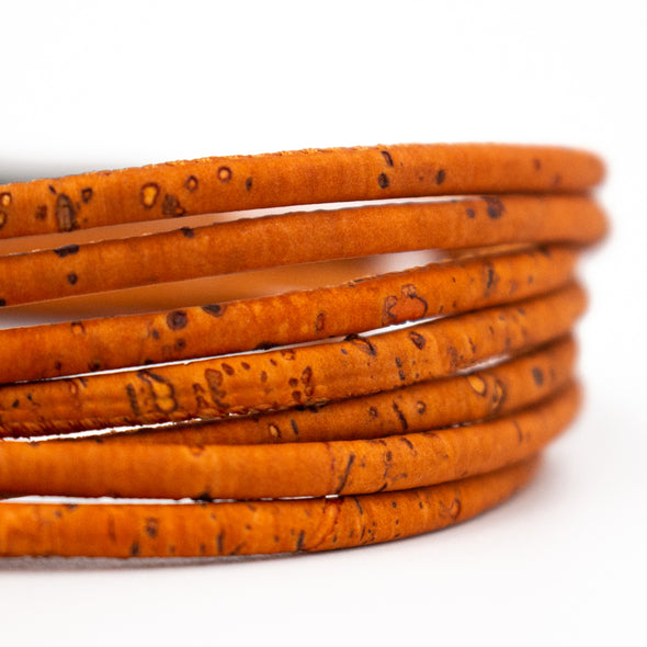 3mm Round orange Cork Cord COR-357(10 meters)