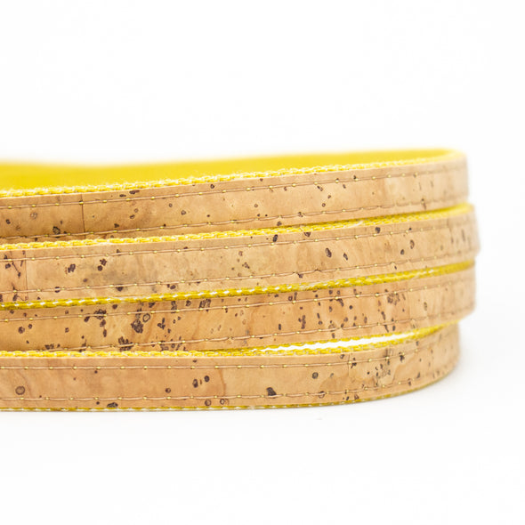 10mm Flat cork cord with Yellow denim Jewelry finding portuguese cork cord COR-374