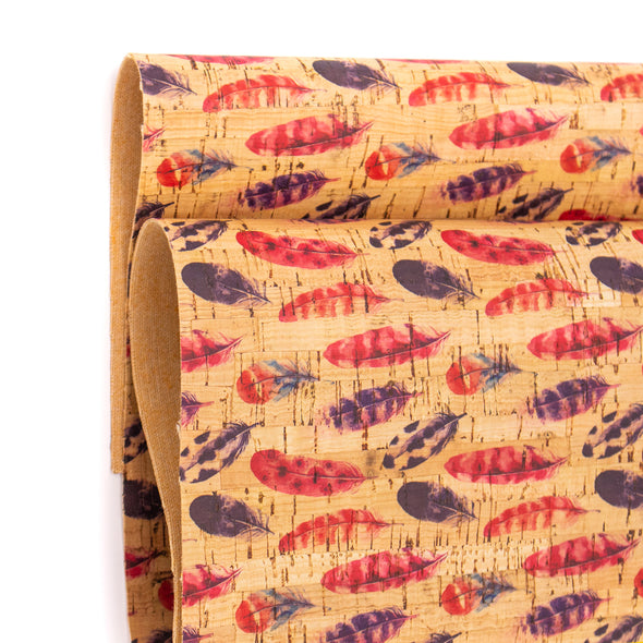Small feather red and brown pattern cork leather fabric COF-265