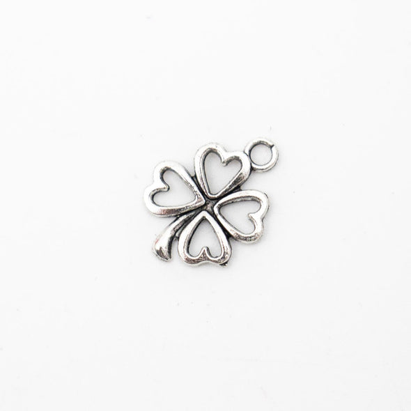 40 Pcs Antique silver four-leaf flower bracelet findings or necklace pendant jewelry supplies jewelry finding D-3-375-B