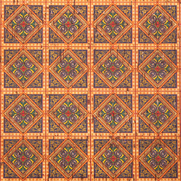 Orange square ceramic tile mosaic pattern cork  fabric COF-260
