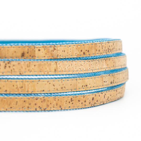 10 meters Natural cork & Blue denim 10mm flat cord COR-376
