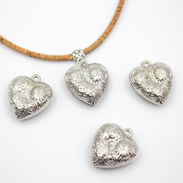 5 Pcs Silver Heart pendant jewelry supplies jewelry finding D-3-395