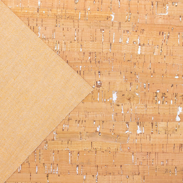 Natural with Silver streaks pattern Cork fabric COF-177