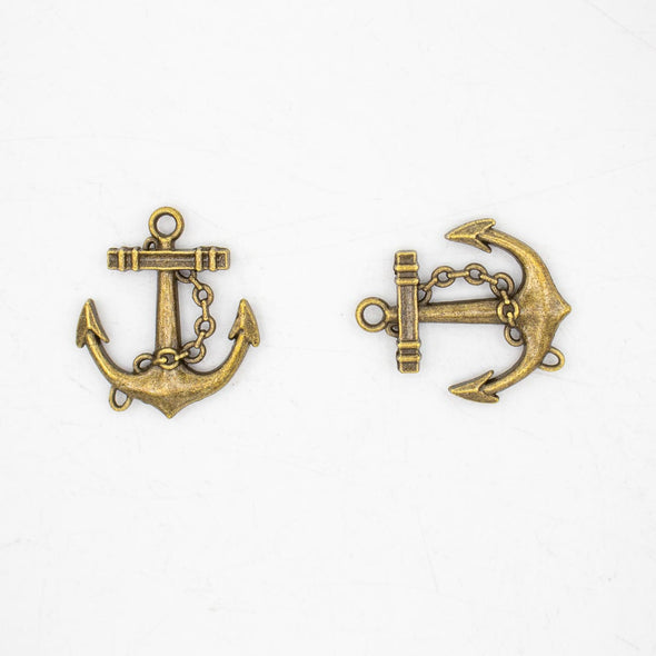 5 units antique Bronze anchor pendant charms jewelry finding suppliers D-3-383
