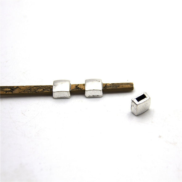 10units For 5mm flat leather slider Antique sliver glass slider jewelry finding supplies D-1-5-37