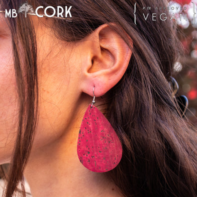 Red softwood fabric handmade ladies earrings, stylish retro jewelry for women cork earring ER-074-B