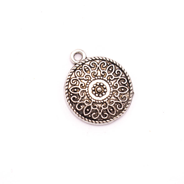 10Pcs Antique sliver Round pendant for bracelet jewelry supplies jewelry finding D-3-443