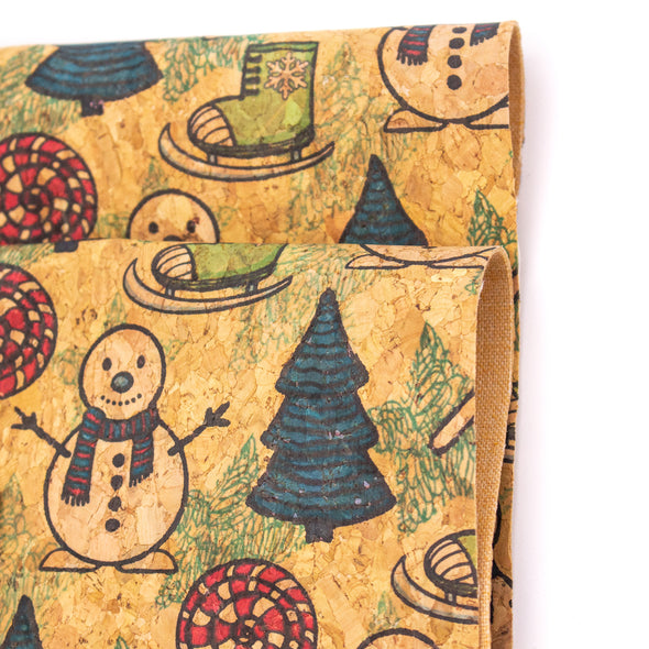 Natural cork Fabric Collection Christmas Snowman, ski boots, christmas tree pattern COF-330