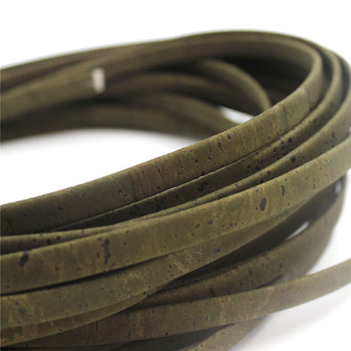10 Meters Dark green 10mm flat cork cord COR-350