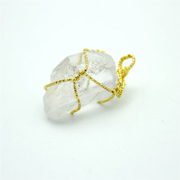 1pcs transparent gold string natural stone crystal irregular shape pendant 34x16mm jewellery jewelry finding D-3-346-M