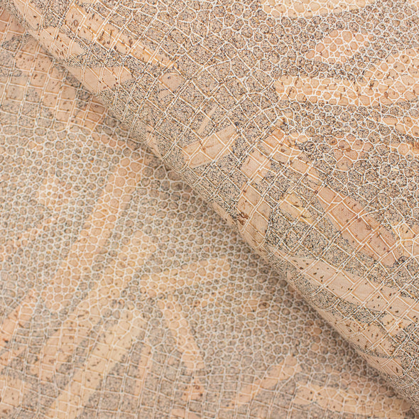 Snake skin pattern natural cork fabric COF-140