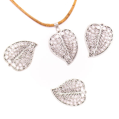5 units 37x46mm Pendant antique silver Leaf jewelry pendant Jewelry Findings & Components D-3-431