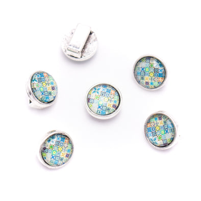 20units For 9mm flat cord slider with ROUND Portuguese tiles for bracelet finding(12mm*12mm) D-1-10-267