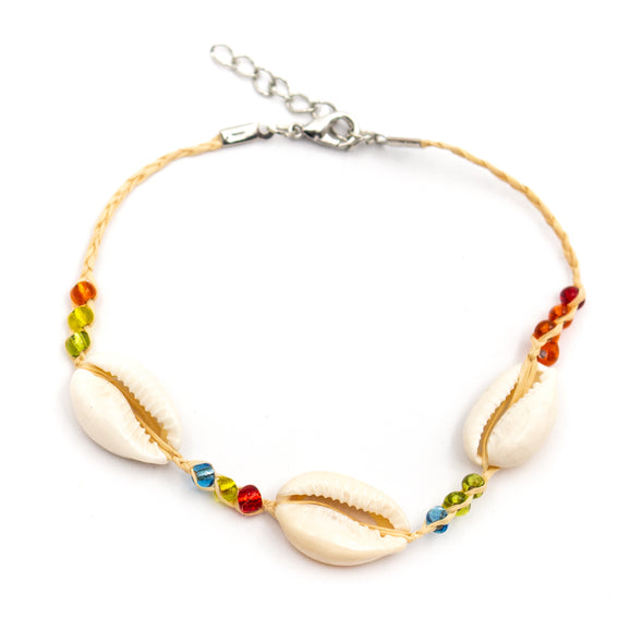 Promotional 10 Units Handmade Ankle Straw Bracelets with Colourful Stones and Shells BR-414-10