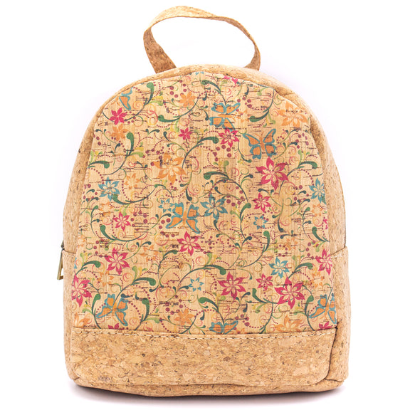 Natural cork with parrten fabric women backpack bag  L 23 x H 20.5 x D 10 cm  -BAG-617