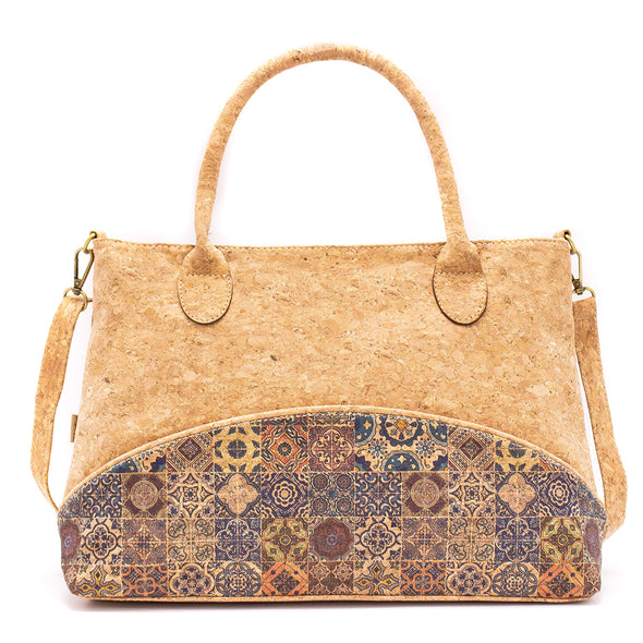 Natural Cork Handbag with Shoulder Strap and Mosaic Design | Made with Cork Fabric Bag-2008
