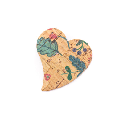 10Pcs heart-shaped Double-sided printing cork fabric suitable for any jewelry DIY D-3-493-ABCD