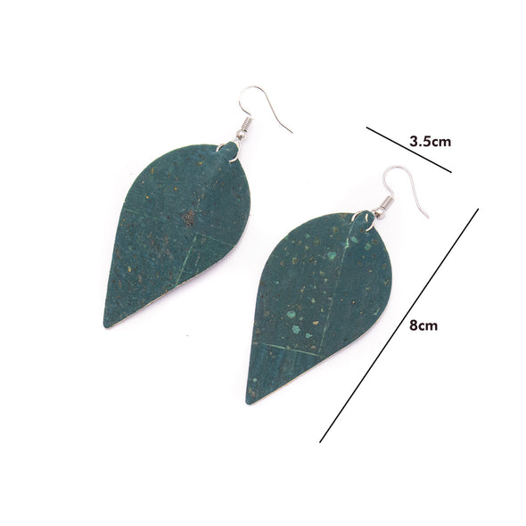 Green cork fabric  Shapes for Earrings, Original handmade ladies earrings-ER-119-C