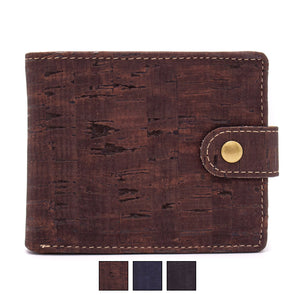 Natural Bifold Cork Wallet with Button | Vegan Cork Fabric Wallet BAG-2002