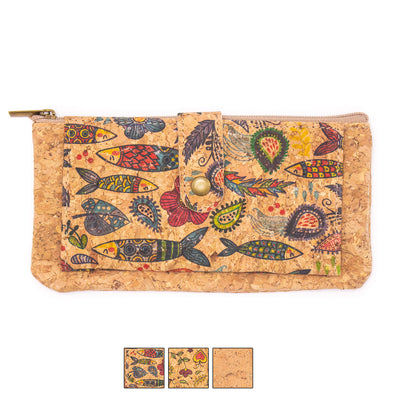 Natural cork zipper women card wallet with flower pattern BAG-2039