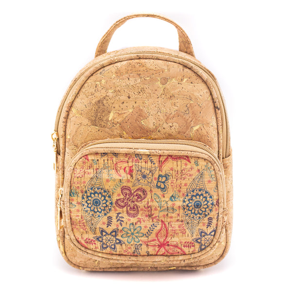 Natural cork with pattern girls backpack BAG-315-DEFG