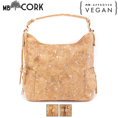 Natural cork  Shoulder Hobo Bag with golden silver parrten womenBAG-362