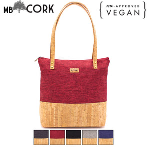 Cork women Tote bag with Gray, burgundy, black, dark blue fabric BAG-372-ABCDE