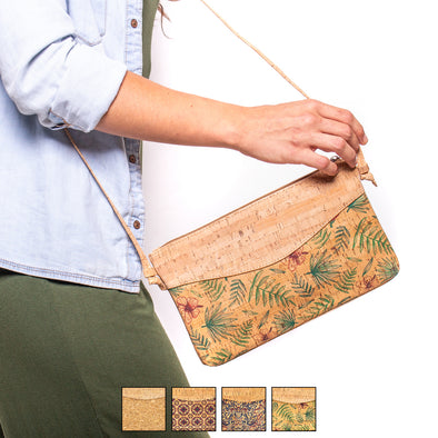 Bodycross cork lady bag Butterflies and flowers Pattern BAG-380-MUVW