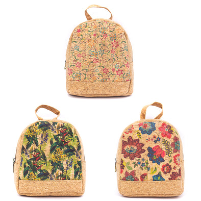 Natural cork backpack with pretty prints BAG-617