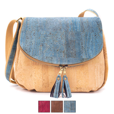 Natural cork with color tassel crossbody lady bag BAGP-026