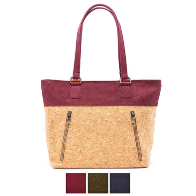 Cork with Color Charcoal style zipper women handbag BAGP-025