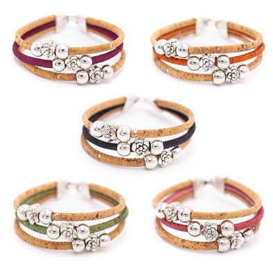 Colorful Cork handmade women bracelet original wooden jewelry From PORTUGAL BR-455-MIX-5