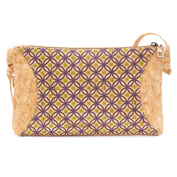 Natural cork with pattern small zipper crossbody purse bag BAG-620