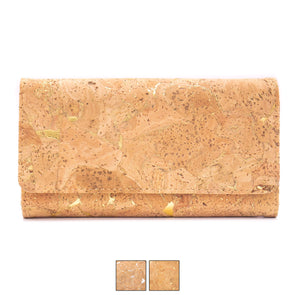 Golden silver cork billfold checkbook vegan women wallet BAG-2017