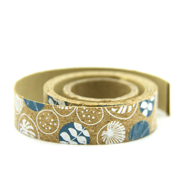 Natural Cork print flower and natural life Ribbon 15mm Wide  L-010