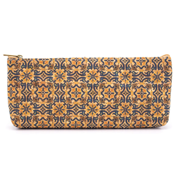 Zipper pouch Large pencil case natural cork pattern BAG-838