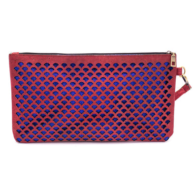 Red laser cut cork clutch with sparkles BAG49-04-C