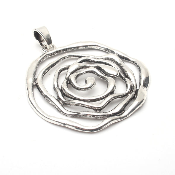 5units antique sliver big ROSE flower Necklace pendant jewelry finding suppliers D-3-98