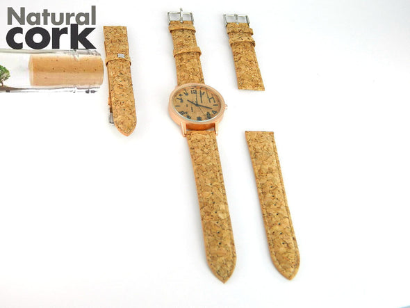 Natural cork watch strap rustic cork with PU leather handmade vegan high quality E-946