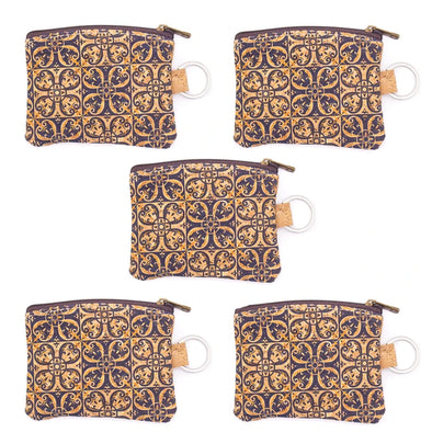 Printed mini cork purse with key ring BAG-2045-D (5 units)
