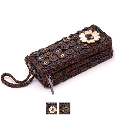 Coco nut handmade women double zipper wallet ECB-003