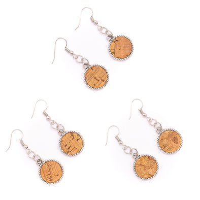 Natural cork antique sliver cork Sticks earrings handmade women earrings lady original dangle wooden jewelry ER-025-MIX