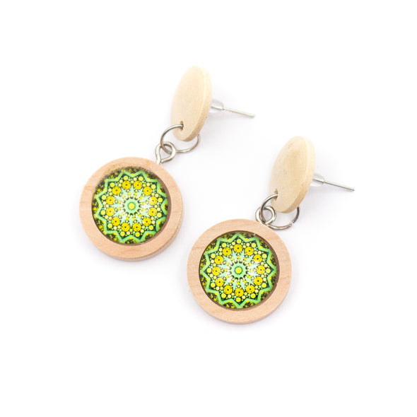Wood earrings for women with traditional ceramic mosaic handmade earrings ER-101-MIX-5