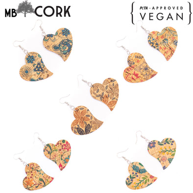 Natural cork Color printed fabric heart pendant earrings Original handmade ladies earrings-ER-110-MIX-5