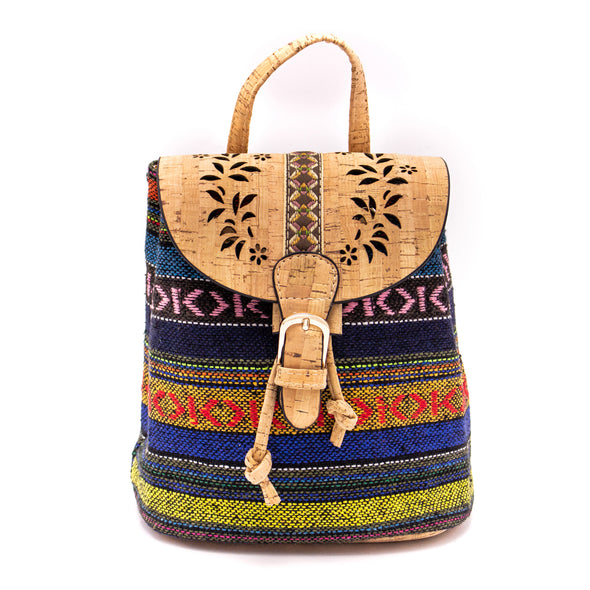 Cork laser cutting with Colorful Textile women backpack OY-001-Randomly ship