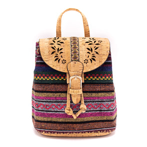Laser-cut cork backpack with Colorful fabric OY-001-Randomly ship