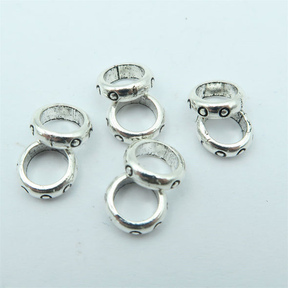 100PCS For 5mm/6mm leather antique silver zamak slider with dot, Jewelry supply, Findings Components D-5-5-66
