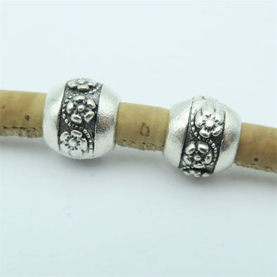 20pcs For 5mm leather antique silver zamak small flower beads big hole beads Jewelry supply Findings Components D-5-5-61